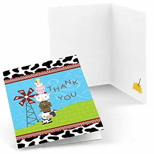 Barnyard Baby Shower (Farm Animals - Baby Shower or Birthday Party Thank You Cards (8 count))