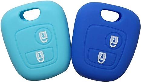 YLC Protector de Llave de Coche de Silicona Car Key Cover Skin Jacket para Llave Peugeot /& Citroen 2 bot/ón Verde