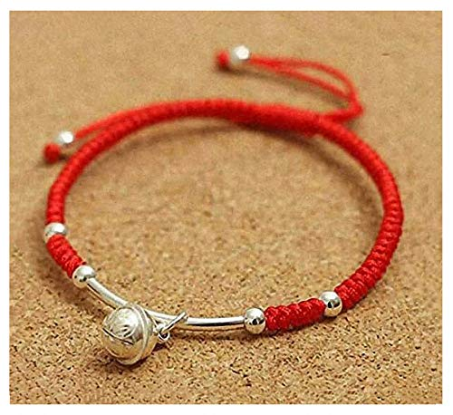 Giwotu Womens Real 925 Sterling Silver Amulet Handmade Lucky Bell Bracelet Red Rope Bangle - 925 Sterling Bells Silver