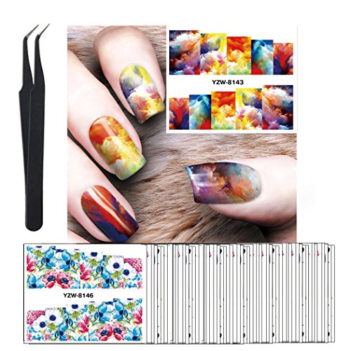 WOKOTO 50Pcs Nail Art Water Decals Vintage Flowers Oil Paint Portrait Design Sticker Nails For Women Girls Nail Art Tool With Tweezers