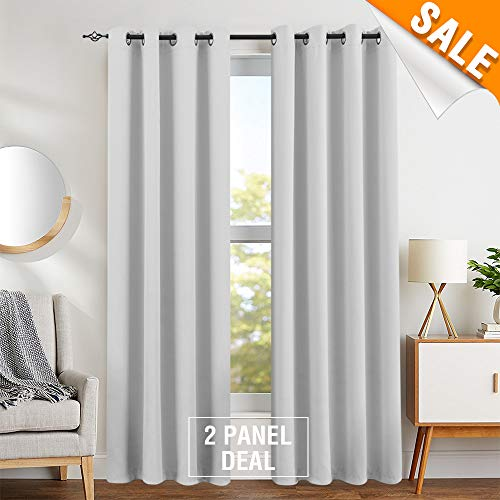 Room Darkening Curtains for Bedroom Curtains for Living Room Triple Weave Grommet Top Light Reducing Curtain Sets Two Panels, 84 Inch Greyish White ()