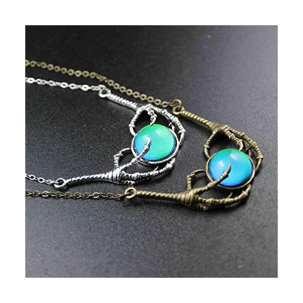 Steam Punk Claw Mood Cabochon Color Changing Pendant Charm Emotion Necklace 18''+1'' Extender 5