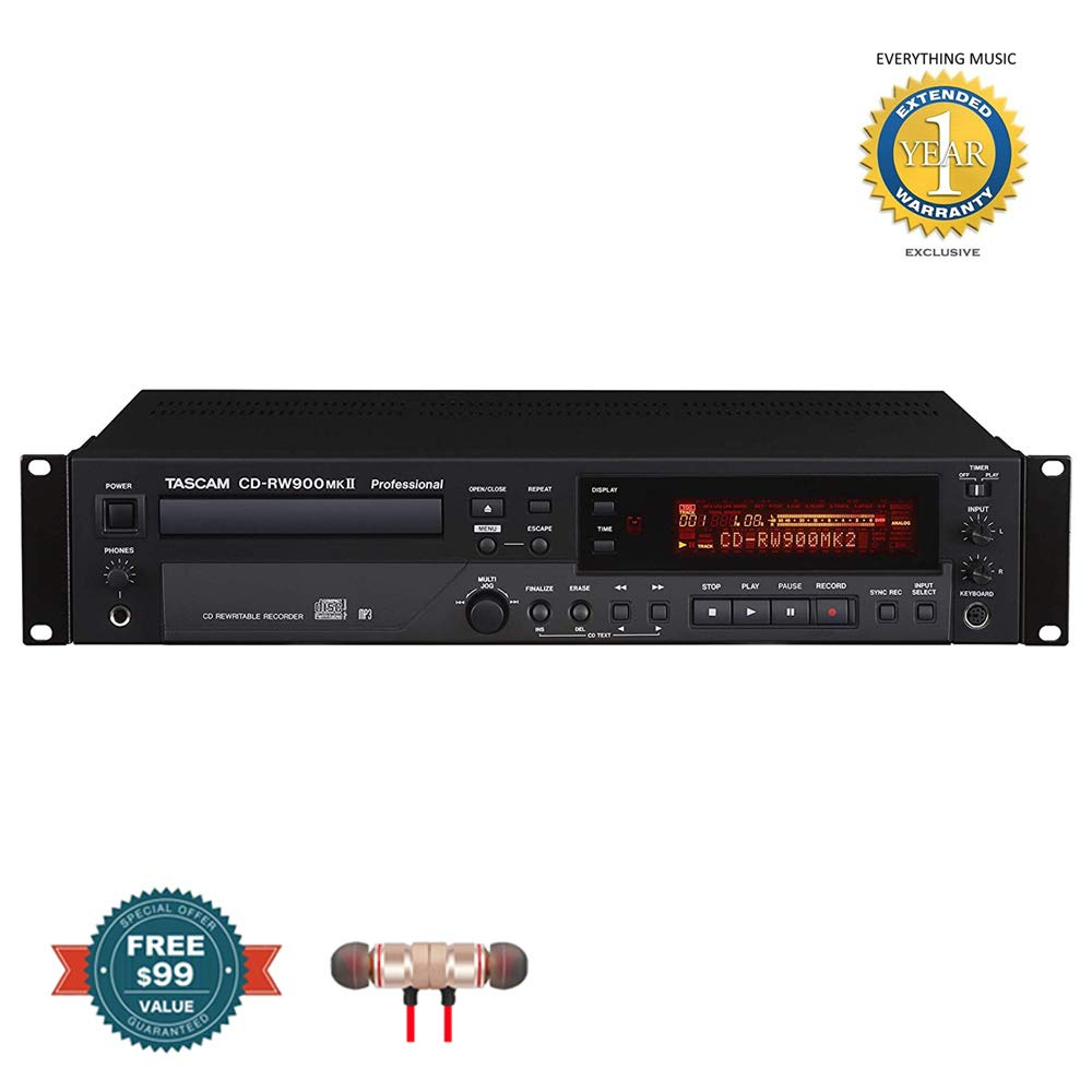 Tascam CD-RW900MKII Professional Rackmount CD Recorder/Player includes Free Wireless Earbuds - Stereo Bluetooth In-ear and 1 Year Everything Music Extended Warranty by Tascam (Image #1)