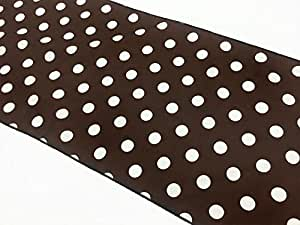 Decorative Polka Dot Cotton Table Runner in 12X90 Inches - Brown