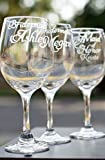 Cheap Personalized Bridesmaid Glasses with Names and Wedding Date – Choose from a Set of 2, Set of 3, Set of 4, Set of 5, or Set of 6