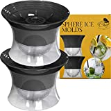 Sphere Mold Ice Ball Maker – Set of 4 Round Shapes Silicone Large Ice Cube Balls 2.5 inch Great for Parties Whiskey and all Cold Beverages Premium Bar Accessory by Chuzy Chef