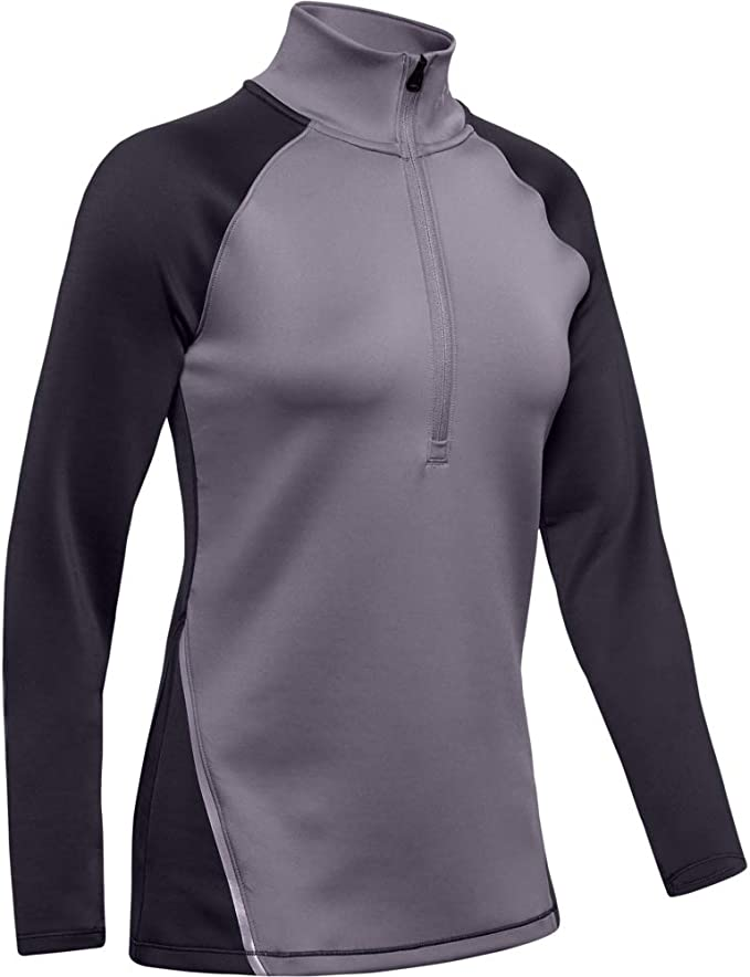 Under Armour ColdGear Womens Running Top Purple Graphic Long Sleeve Half Zip