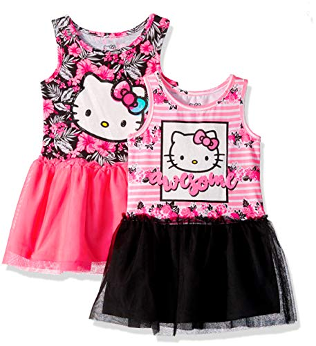 Hello Kitty Toddler Girls 2 Pack Embellished Dresses, Pink/Black, 2T - Hello Kitty Pink Tutu