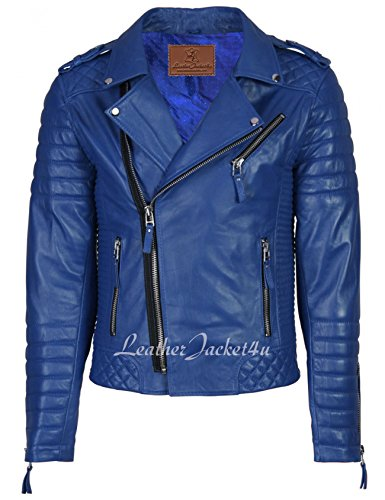 Blue Leather Motorcycle Jacket - 1