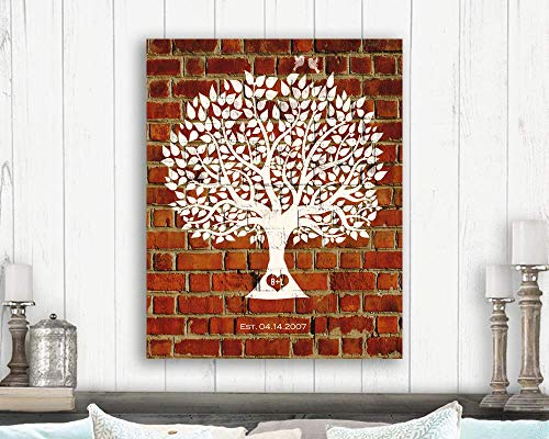 Traditional 8 Year Faux Brick Clay Pottery Anniversary Personalized Family Tree Gift For Couple Custom Art Print #1383 Paper Print