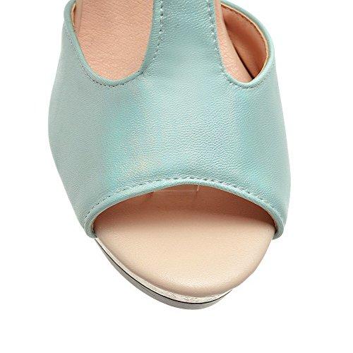 Odomolor Mujeres Material Suave Puntera Abierta Sólido Tacón Alto Sandalia de Tacón Azul