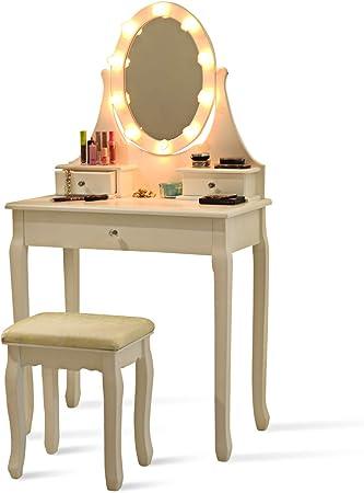 Costway Coiffeuse Table de Maquillage avec Miroir Ovale Tabouret et Lumière LED Blanche