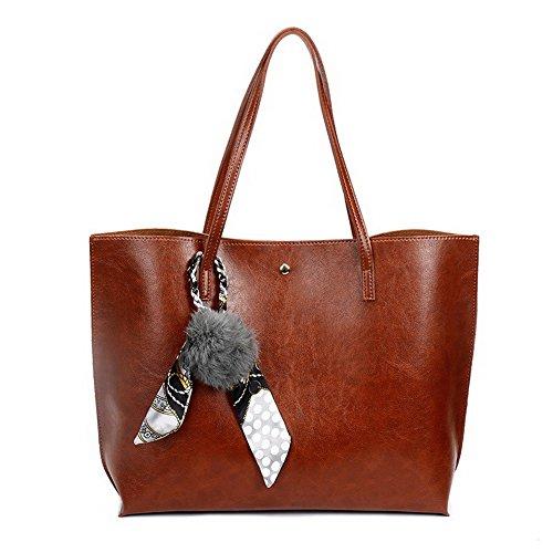 Aalardom Women Fashion Casual Shoulder Bags Pu Totestyle Handbags, Brown Tsmbh180762