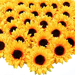 "Silk Flower Arrangements AGEOMET 32pcs 3.5"" Fake Sunflowers, Artificial Sunflower Heads, Faux Silk Sunflower Decoration for Craft Home Party Wedding Decor"