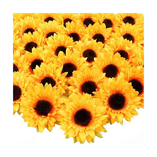 AGEOMET 32pcs Artificial Sunflower Heads Fake Silk Sunflowers for DIY Wedding Autumn Party Home Decorations(Orange, 3.5 Inches Each)
