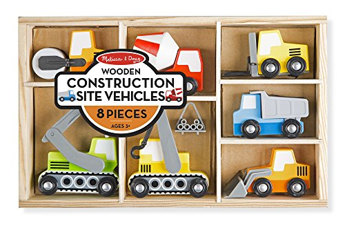 Melissa & Doug Wooden Construction Site Vehicles With Wooden Storage Tray (8 (Loader Forklift)