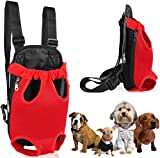 GPCT Pet Puppy Sling Carrier Hands Free Shoulder Travel Backpack. Adjustable Dog Cat Pet Puppy Outdoor Carry Bag Tote Handbag Carrier, Legs Out, Easy Fit for Travelling Hiking Camping- Red M