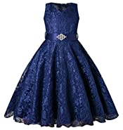 SHOWADAY Girl's Princess Sleeveless Tulle Lace Glitter Vintage Pageant Prom Dresses
