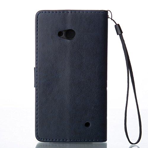 Funda Microsoft Nokia Lumia 640 OuDu Carcasa de Billetera Funda PU Cuero Carcasa Suave Protectora con Correas de Teléfono Funda Arbol Flip Wallet Case Cover Bumper Carcasa Flexible Ligero Ultra Delgad Azul Marino