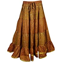 Mogul Womens Maxi Skirts Bellydance Recycled Vintage Sari Gypsy Tiered Long Skirts