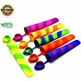 Silicone Ice Pop Molds, Multicolored Popsicle Molds with Attached Lids,Set of 6