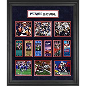 New England Patriots Framed 23″ x 27″ 6-Time Super Bowl Champion Ticket Collage – NFL Team Plaques and Collages