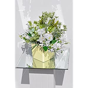 Artificial White Freesia & Tuberose Floral Vase Table Display