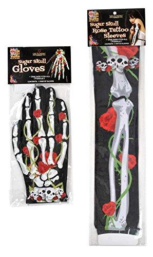 Halloween House Bones N' Roses Tattoo Glove and Arm Length Sleeve Assortment - 1 Pack
