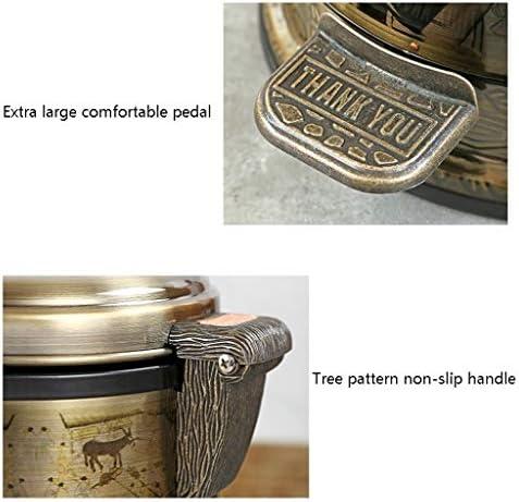 ゴミ袋 ゴミ箱用アクセサリ 中国のレトロのゴミ箱は居間の洗面所のペダルのゴミ箱を家に帰すことができます キッチンゴミ箱 (Color : Brass, サイズ : 6L)