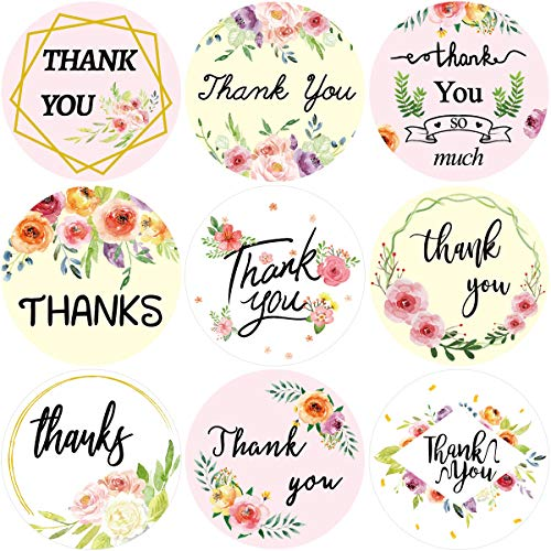 Floral Thank You Stickers 200PCS Perforated Labels Sealing Decoration Roll Sticker Graduation for Small Business Wedding…