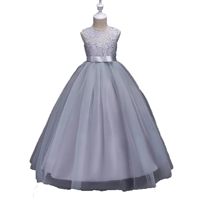 a3faa6c537c ZaH Girl Dress Kids Ruffles Lace Party Wedding Dresses Christmas Gowns (Gray