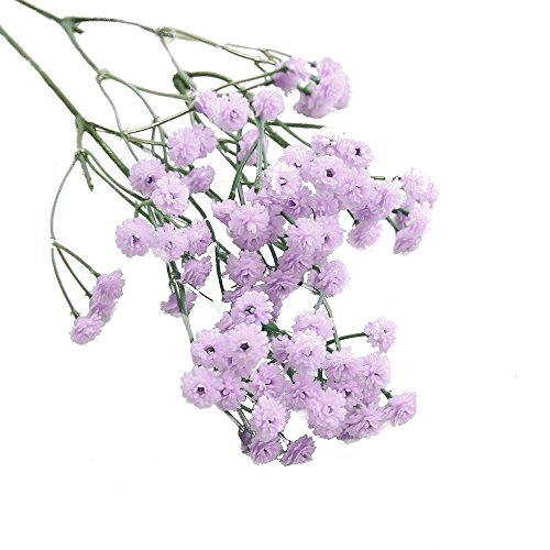 Birdfly Artificial Silk Fake Starry Sky Flowers Baby's Breath Floral Wedding Bouquet Party Decors (Purple)]()