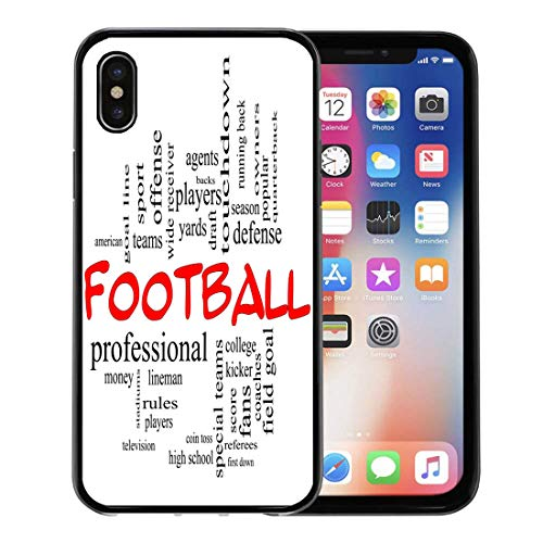 Semtomn Phone Case for iPhone Xs case,Football Word Cloud in Red Caps Great Terms Such As Yards Touchdown Season Quarterback Fans Games Draft for iPhone X Case,Rubber Border Protective Case,Black