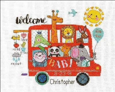 Dimensions Counted Cross Stitch Kit, Baby On Board Birth Record Personalized Baby Shower Gift, 14 Count White Aida, 10''L x 8''H.