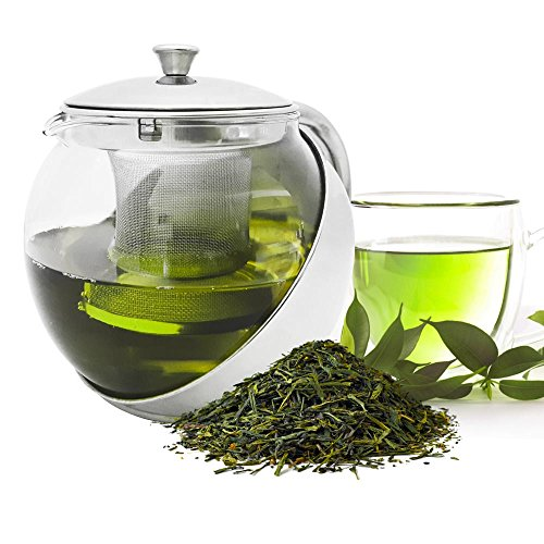 Stainless Steel Glass Tea Kettle with Infuser Strainer Maker Teapot 900ml Loose Tea or Bags Hot or Cold