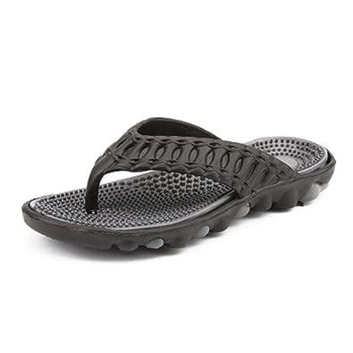 f8dfcef4f Men s Rubber Sandal Slipper Comfortable Shower Beach Shoe Slip on Flip Flop (Black