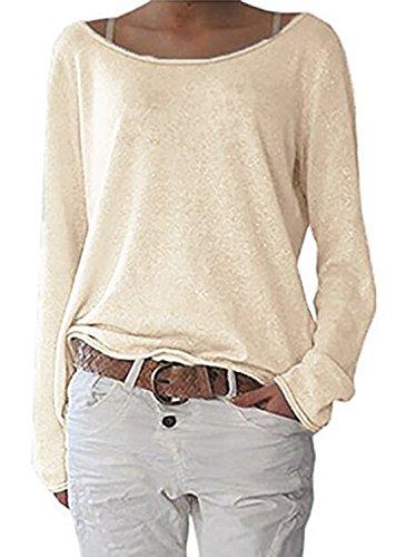 Maglietta Donna Moda Scollo a Barca Maglie a Manica Lunga Casual Sciolto Maglioni Bluse di Colore Solido Camicie Jumper T-Shirt Shirts Albicocca