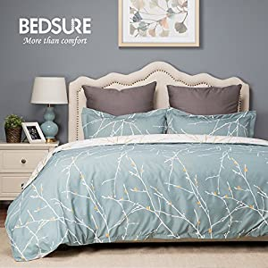 Duvet Cover Set with Zipper Closure-Green/White Printed Branch Pattern Reversible,Full/Queen (90