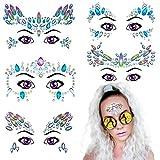 Face Gems Glitter 5 Sets Mermaid | Rhinestone Rave Festival Women Face Jewels | Bindi Crystals Face Stickers | Eyes Face Body Temporary Tattoos for Music Festivals Bohemian Coachella