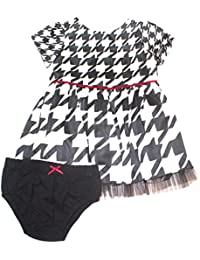 Baby-Girls Houndstooth Shantung Dress and Diaper Cover Set