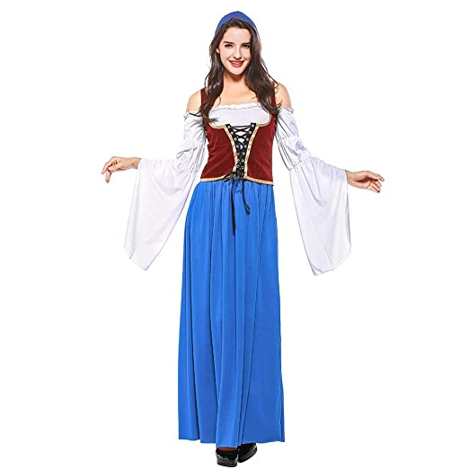 QQWE 3 Unids/Set Vestido de Dirndl de Camarera para Mujeres ...