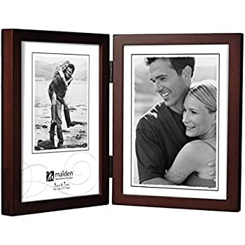 malden international designs dark walnut concept wood picture frame double vertical 2 5x7 walnut