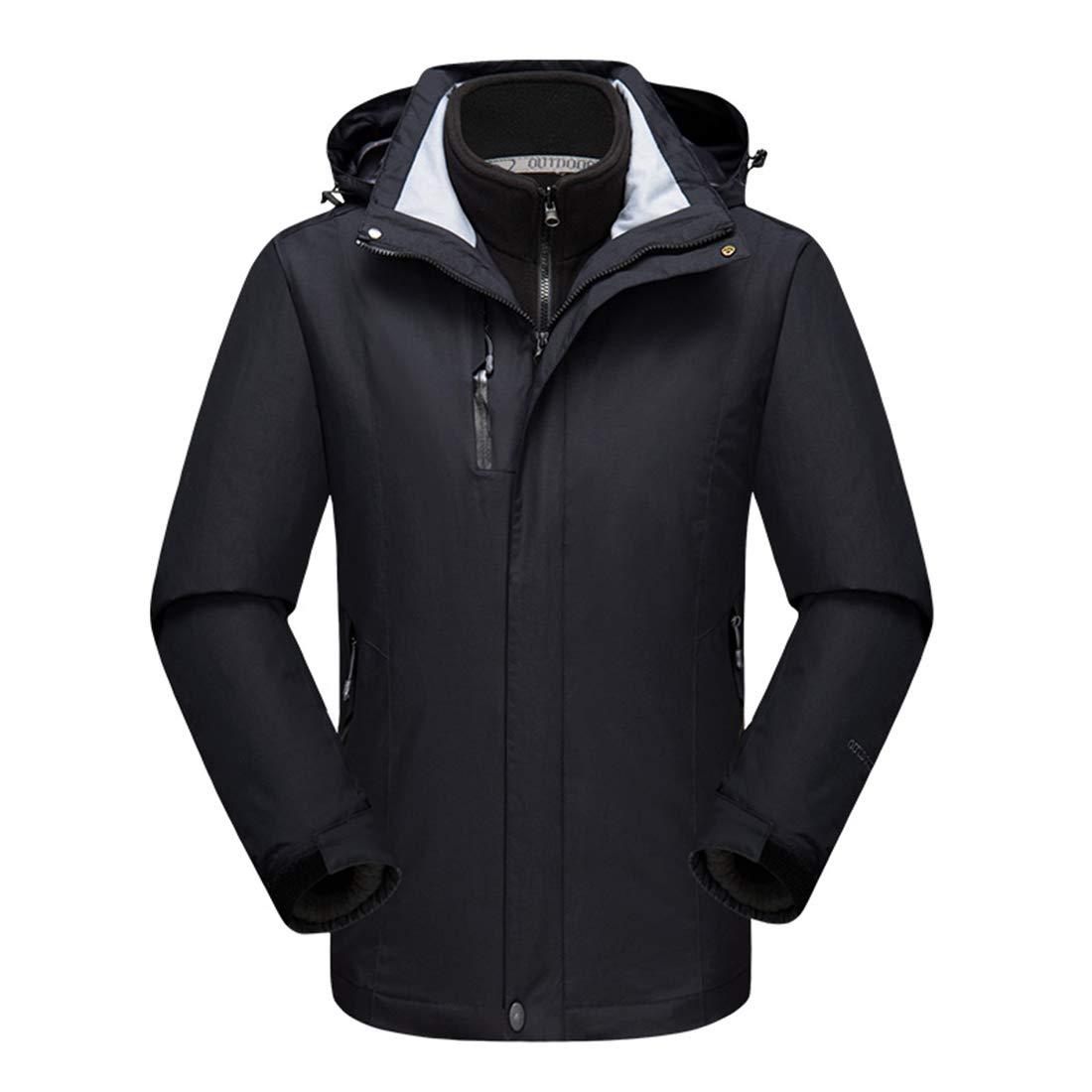 Black Tag XL   US L Alomoc Men's 3 in 1 Winter Hiking Jacket Waterproof Snowboard Coats with Hood