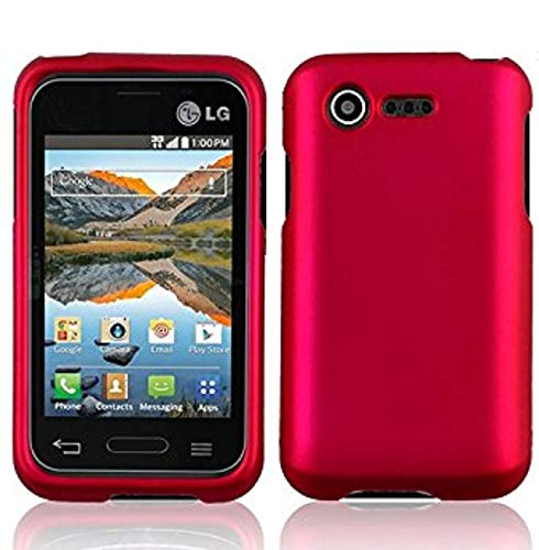 (Luckiefind Case Compatible with LG Optimus Zone 2 VS415PP (Verizon), L34C Fuel (Stright talk). Rubberized Plastic Cover Snap On Hard Case Cover (Hard Pink))