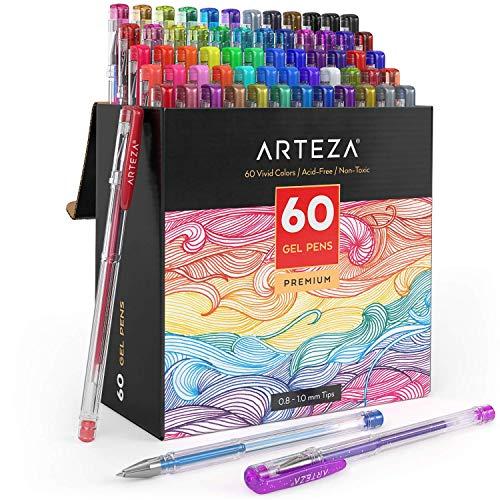 Arteza – Bolígrafos De Gel, 60 Colores Individuales, Sin ácido Ni Productos Tóxicos (puntas De 0,8–1,0mm, Conjunto De 60 Bolígrafos)