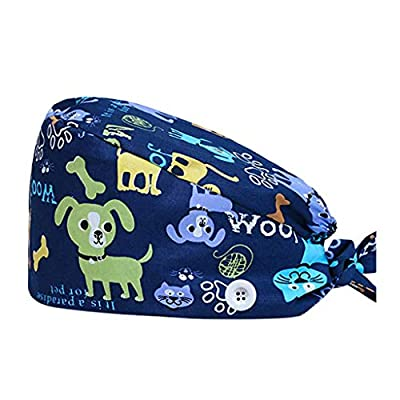 KYLEON Surgical Caps Scrub Hat with Button Medical Bouffant Cap Sweatband Head Covers Headwear for Doctor Nurse Men Women: Clothing