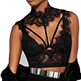 Women Tank Tops Sleeveless Lace Splice V-Neck Bra Vest T-Shirt Crop Blouse (L, Black)