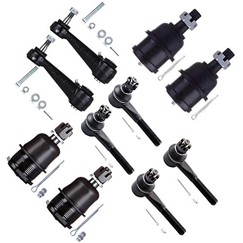 SCITOO 10pcs Suspension Kit 2 Lower 2 Upper Ball Joint 2 Outer 2 Inner Tie Rod 2 Idler Arm Compatible fit 1981-1994 Dodge B150 B350 B250 1995-1998 Dodge B1500 B2500 B3500 2001-2003 Dodge Ram 1500 Van