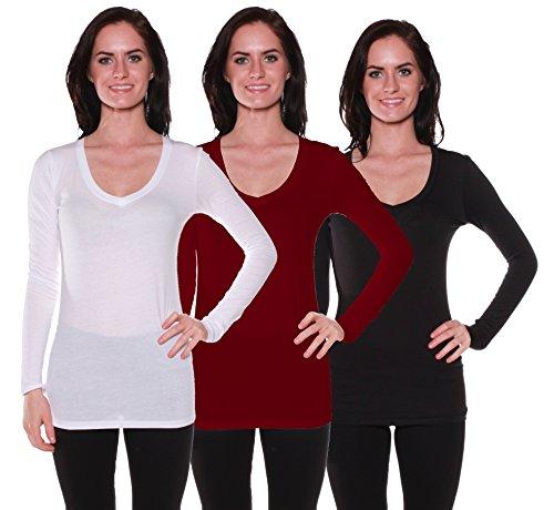 Active Basic Women's Long Sleeve V-Neck T Shirts 3 Pack(Wht/Dp Burg/Blk-L)