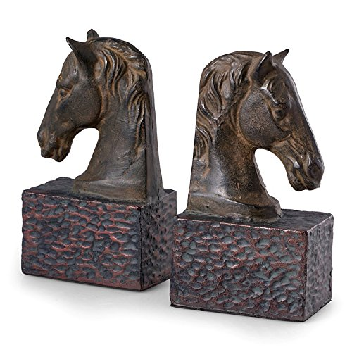 KensingtonRow Home Collection Bookends - Stately Stallions Cast Metal Horse Head Bookends